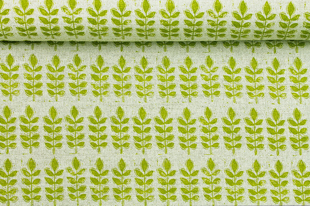 Sam Wilson Leaf - Green Linen Fabric