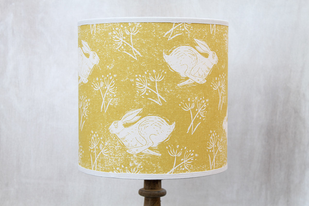 Sam Wilson Headlong Hare Yellow Ochre Cotton Lampshade
