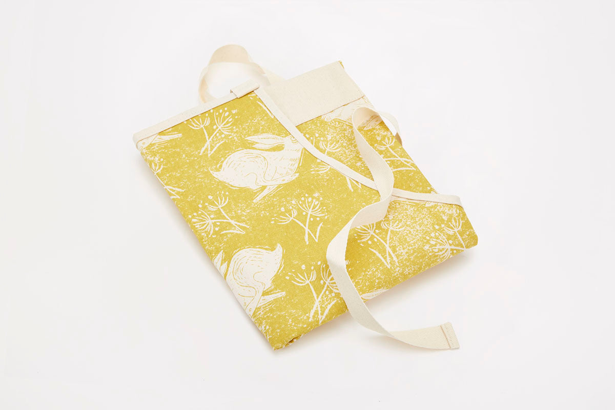Headlong Hare Yellow Ochre Cotton Apron
