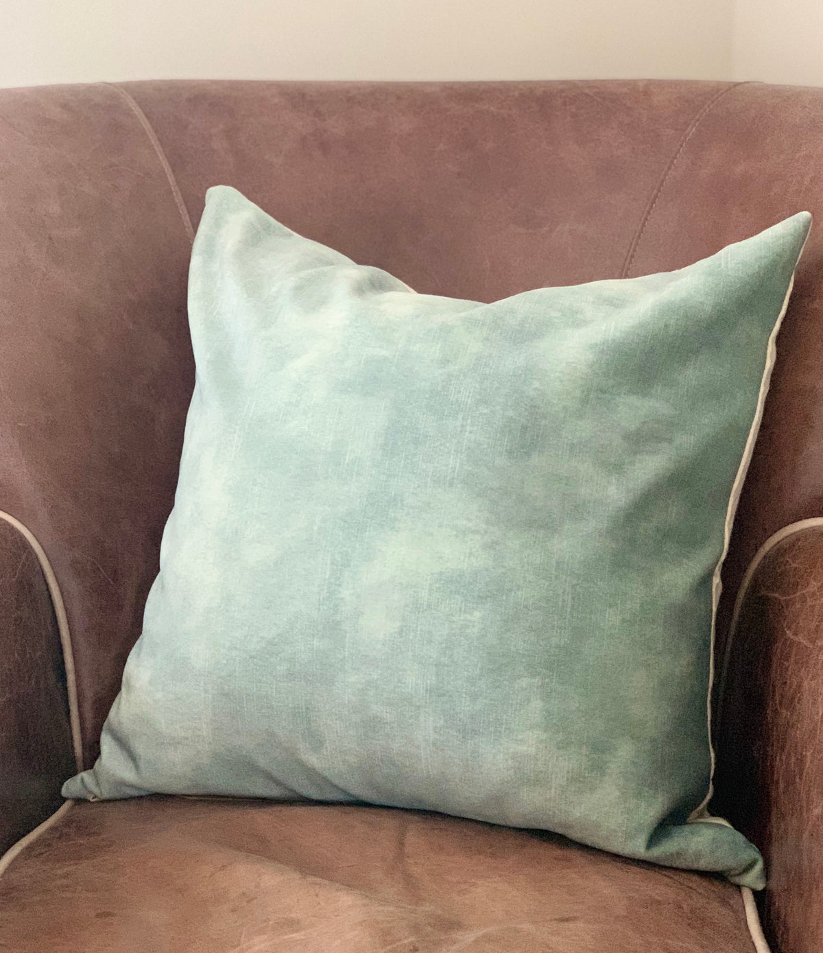 Sam Wilson Lovely Seaglass Velvet with Linen back Cushion
