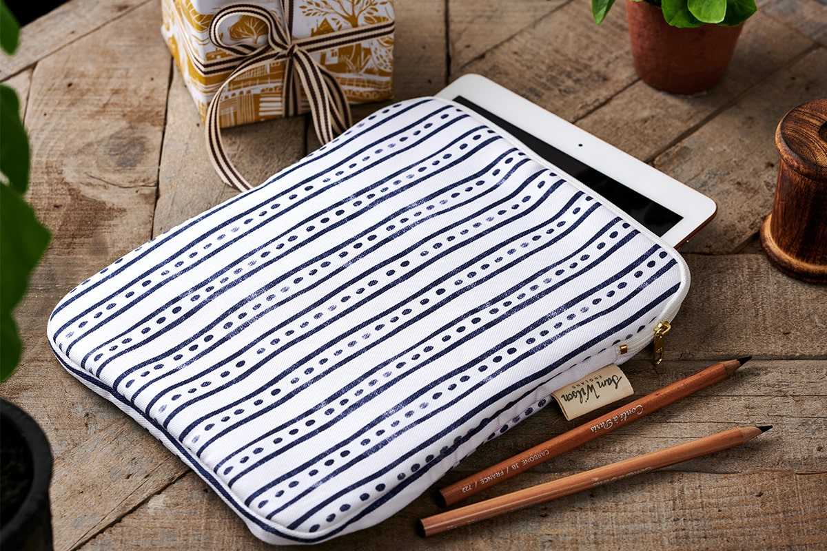Sam Wilson Navy Stripe/ Dash Ipad Cover