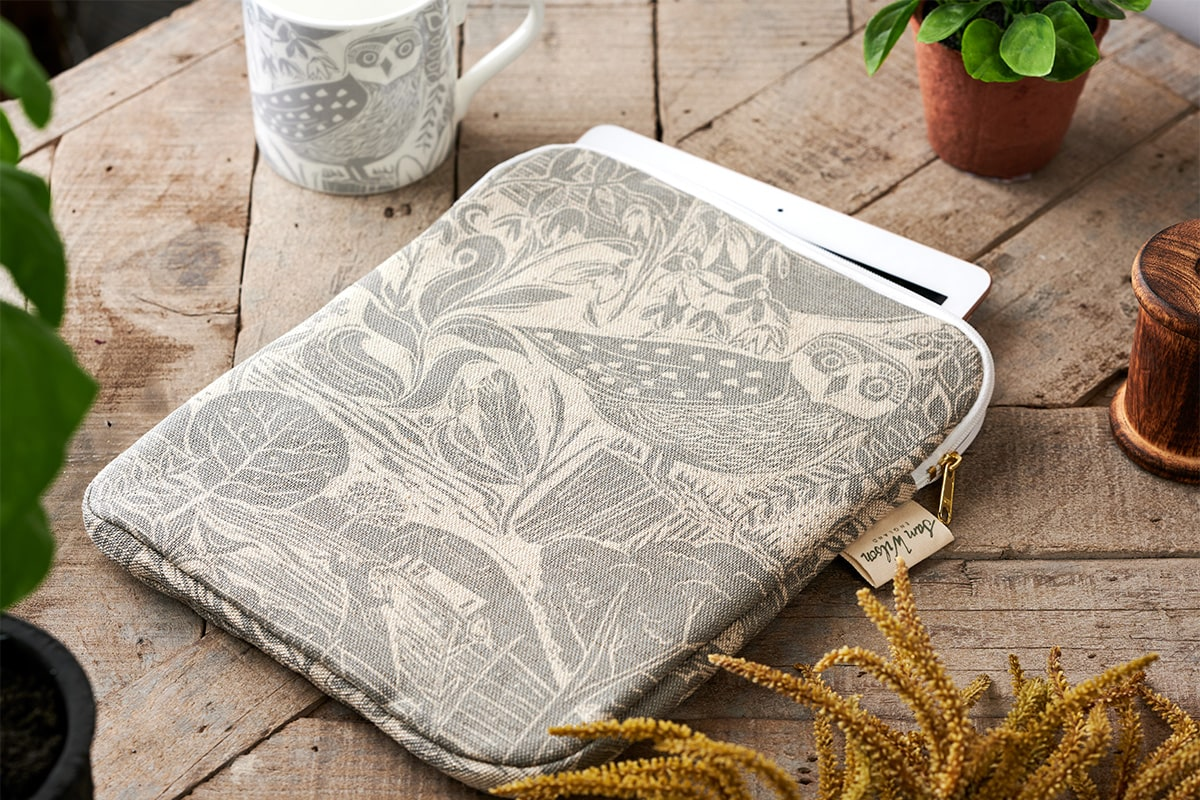 Sam Wilson Owl & Fox Grey Ipad Cover