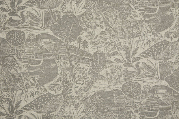 Sam Wilson Owl and Fox Rolling Countryside Linen Fabric