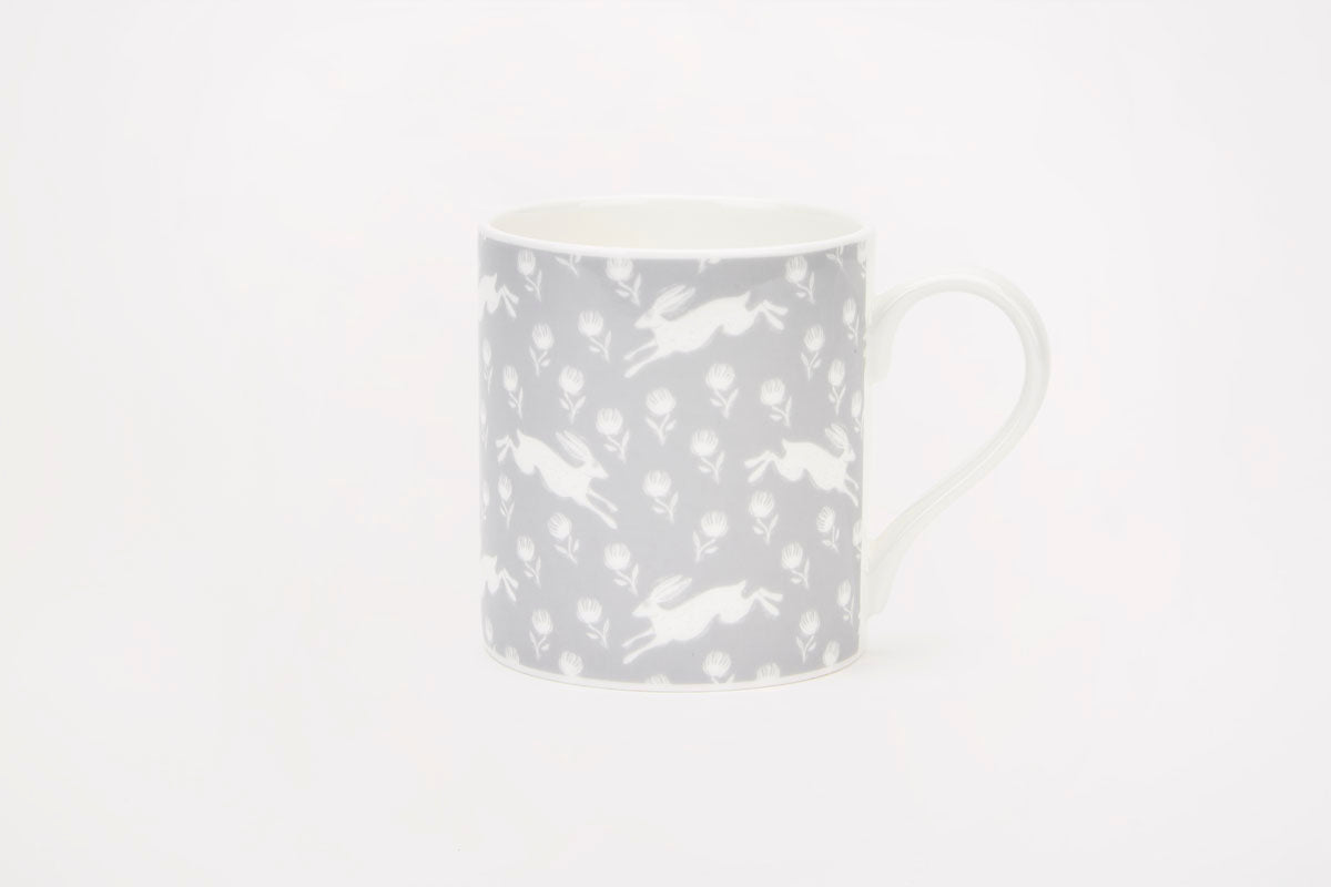 Sam Wilson Running Hare Grey Pattern Mug