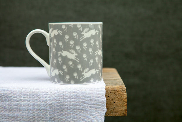 Running Hare Grey Pattern Mug