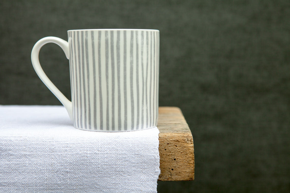 Sam Wilson Grey Striped Large Mug