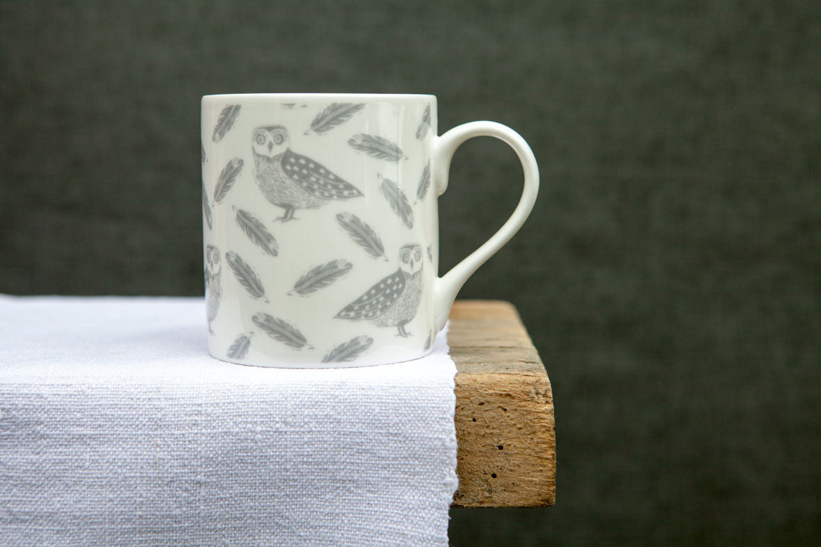 Owl and Feather Pattern Mug