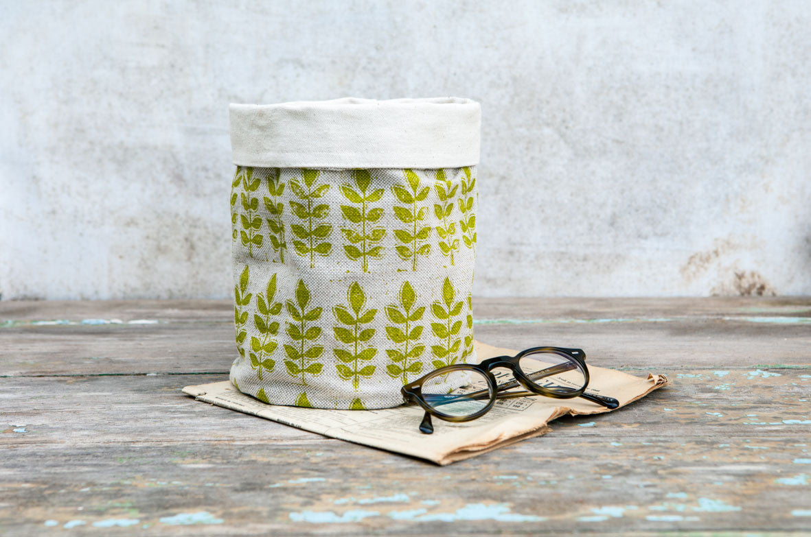Sam Wilson Green Leaf Linen Pot Bag