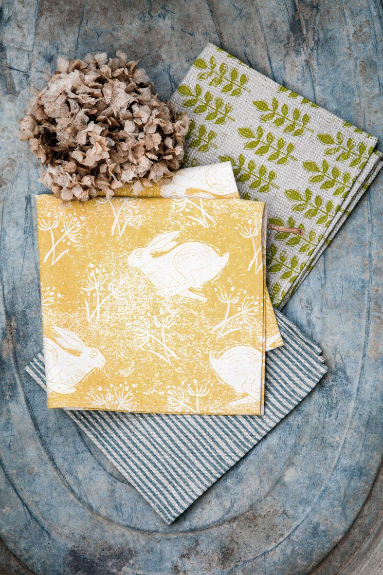 Sam Wilson Headlong Hare Yellow Ochre Cotton Napkins - Set of 4