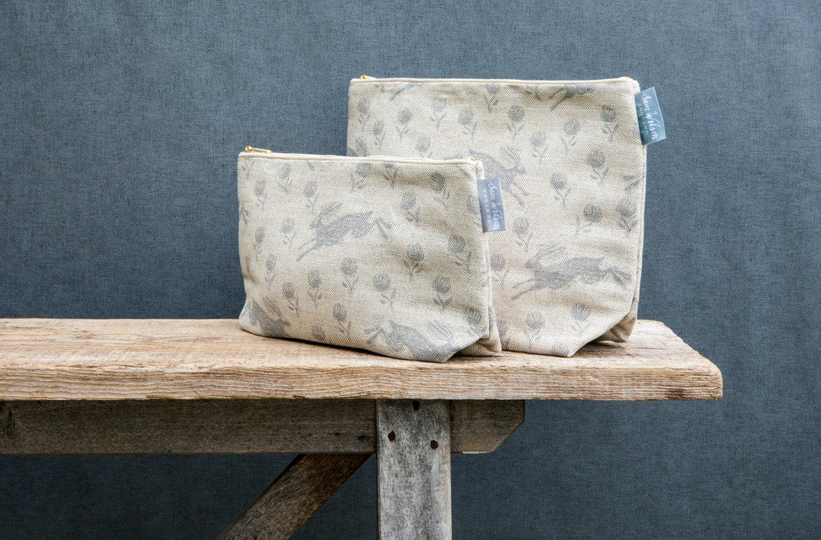 Running Hare Grey Linen Washbags