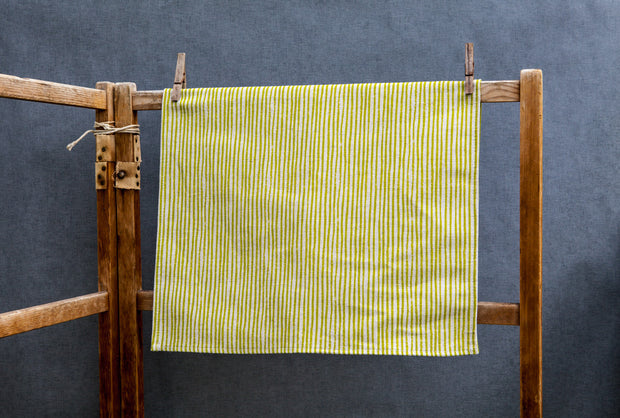Green Stripe Linen Tea Towel