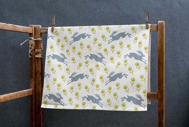 Running Hare Pattern Tea Towel