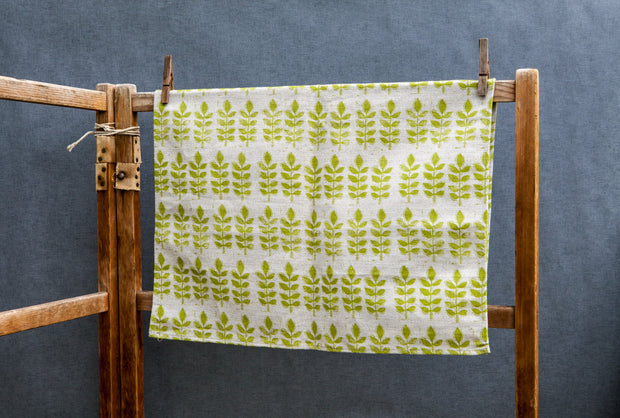 Green Leaf Linen Tea Towel
