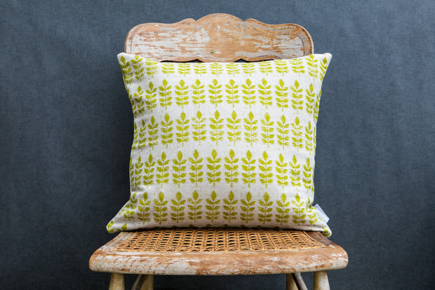 Green Leaf Print Square Linen Cushion