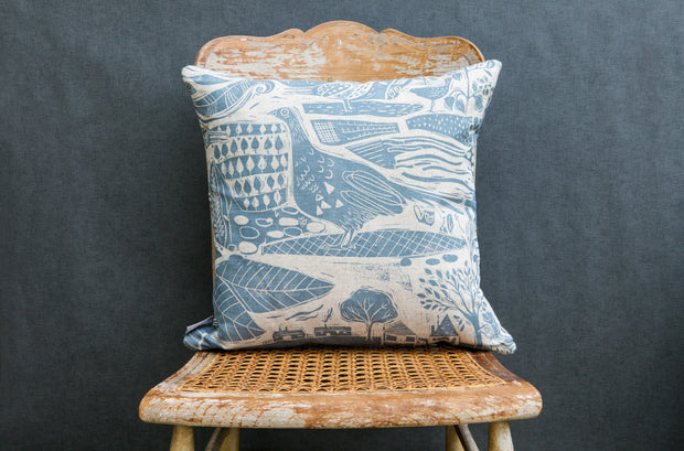 Through The Fields Square Linen Cushion