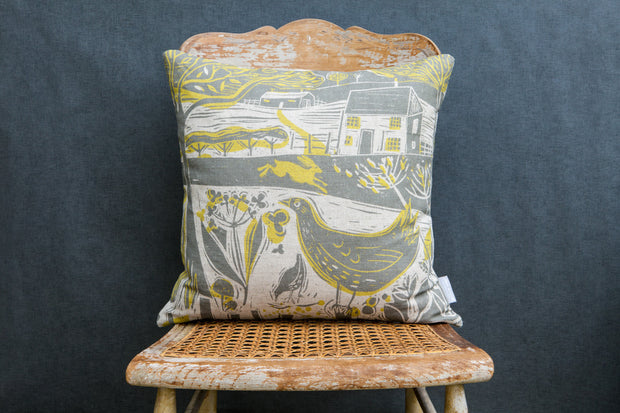 Sam Wilson Running Hare Scene Linen Cushion