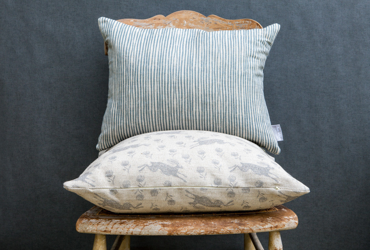 Blue Stripe Rectangle Linen Cushion