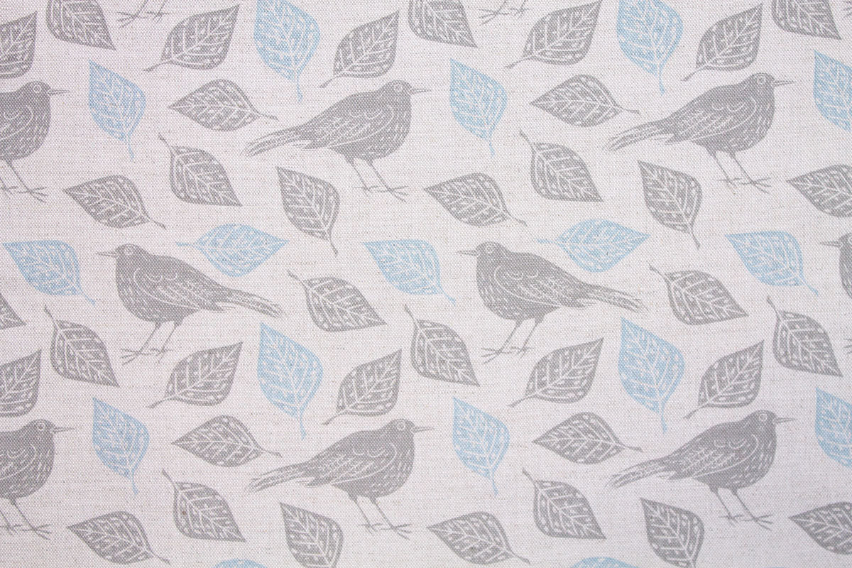 Sam Wilson Mr Blackbird Blue Linen Fabric