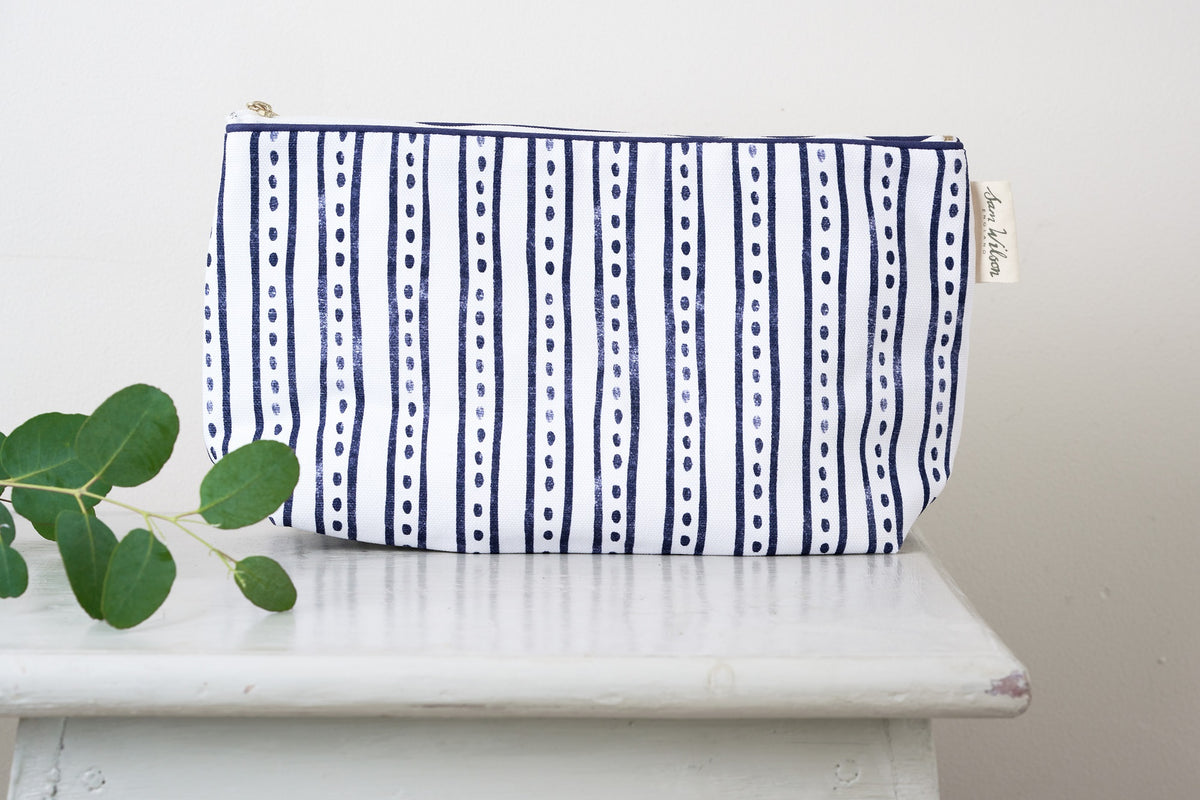Sam Wilson Navy Stripe & Dash Washbag