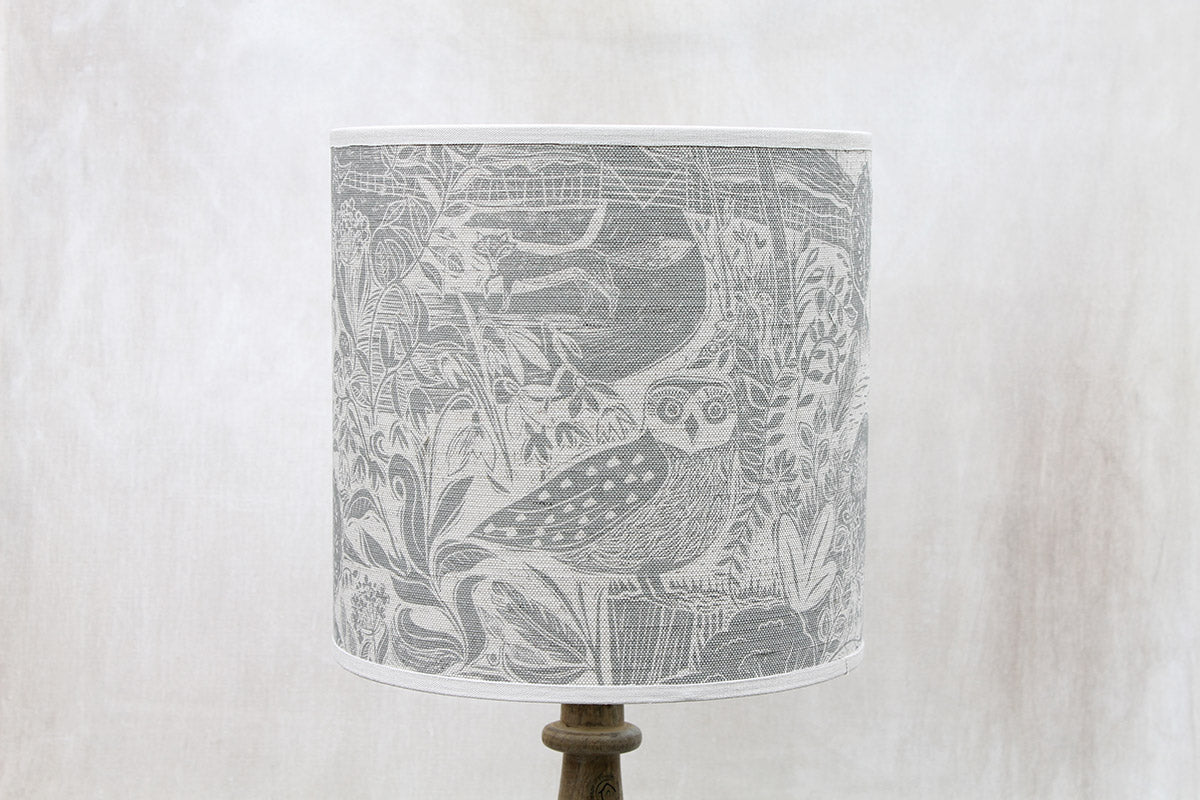Owl and Fox Linen Lampshade