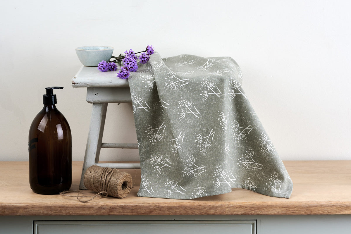 Sam Wilson Parsley Seed Grey Tea Towel