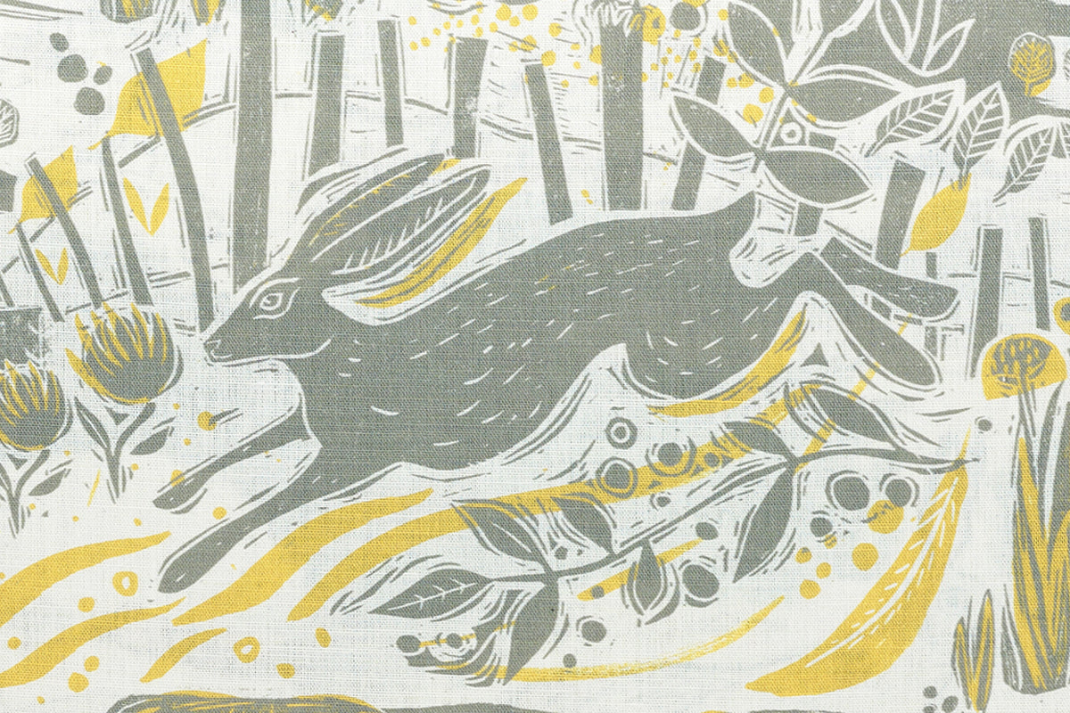 Running Hare Through The Countryside Linen
