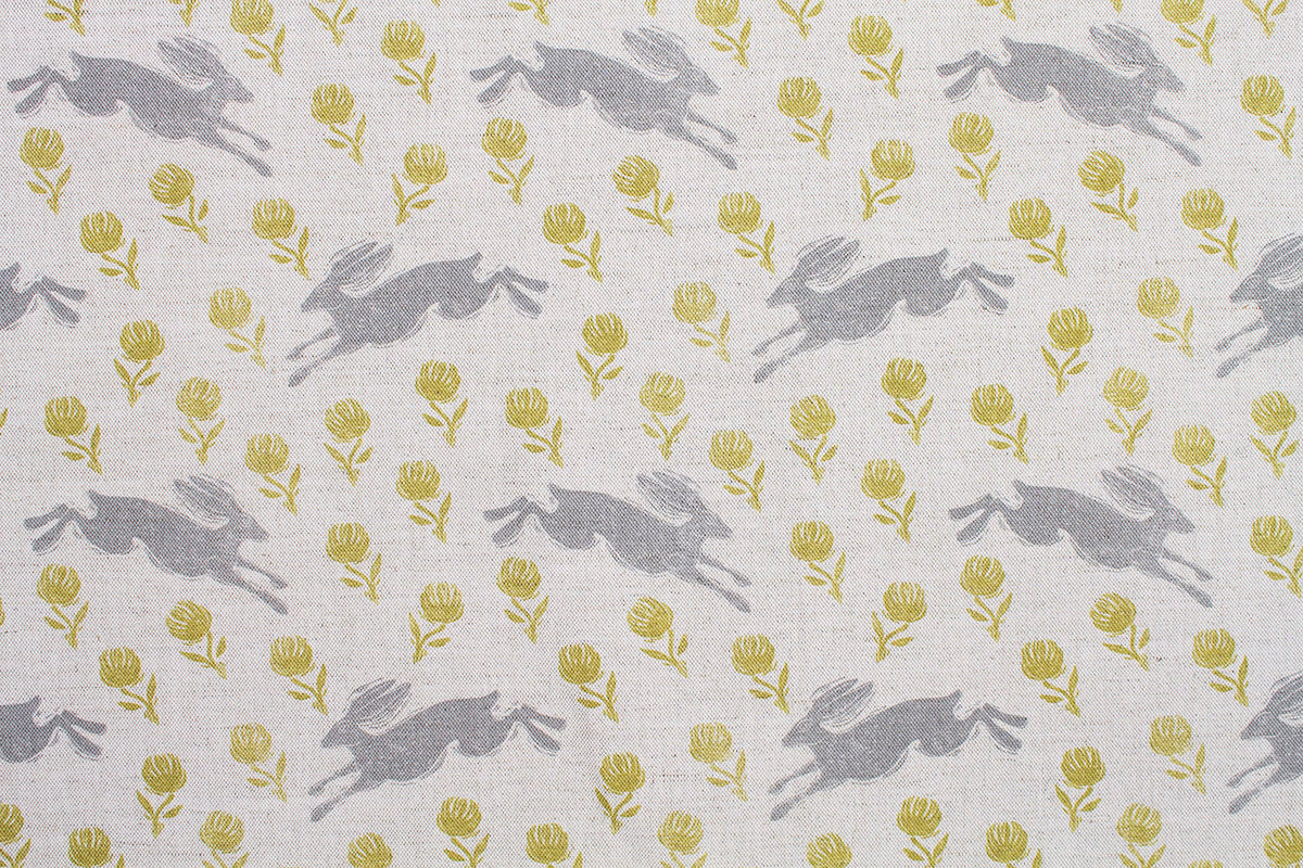 Sam Wilson Running Hare with Green Clover Linen Fabric
