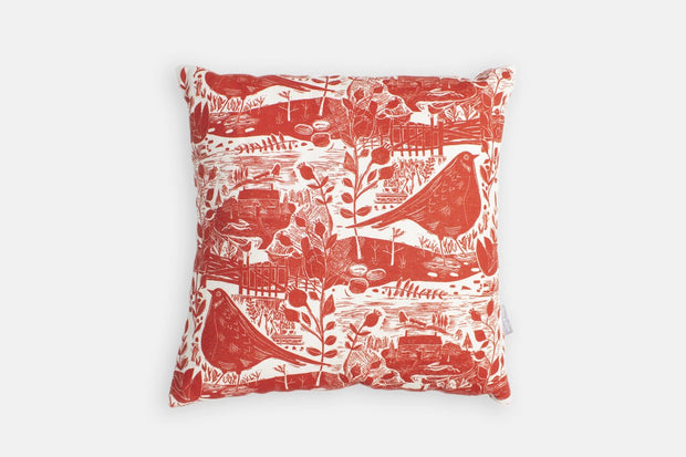 Sam Wilson Garden Bird with Red Back Linen Cushion