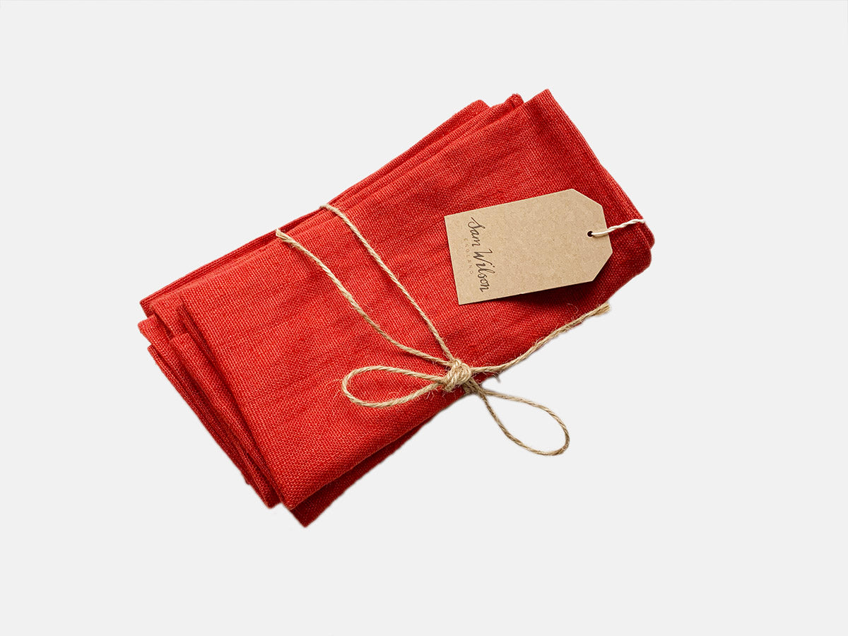 Sam Wilson Red Linen Napkins - Set of 4