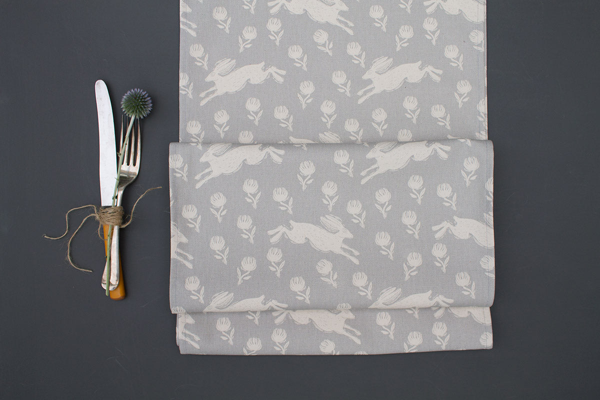 Running Hare Grey Cotton Table Runner