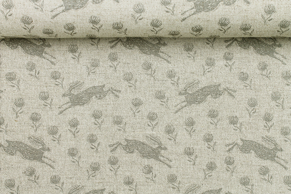 Running Hare Grey Linen Fabric