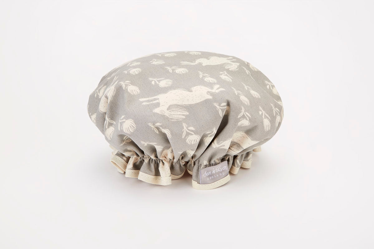 Sam Wilson Running Hare Grey Cotton Shower Cap