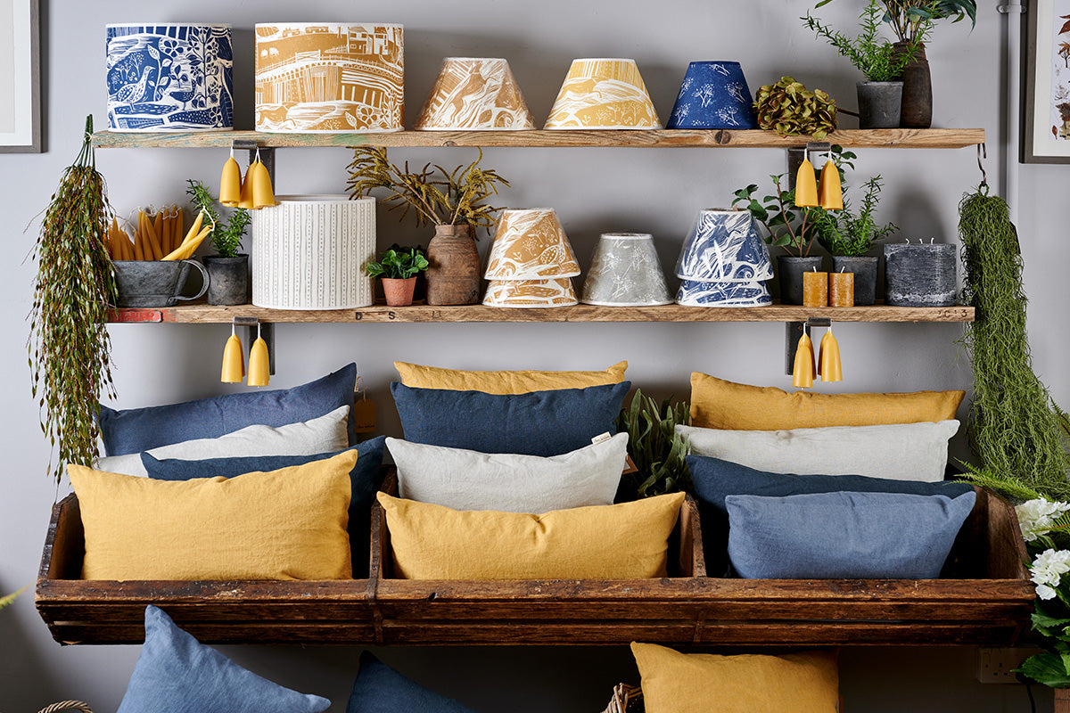 Sam Wilson Large Denim Square Linen Cushion