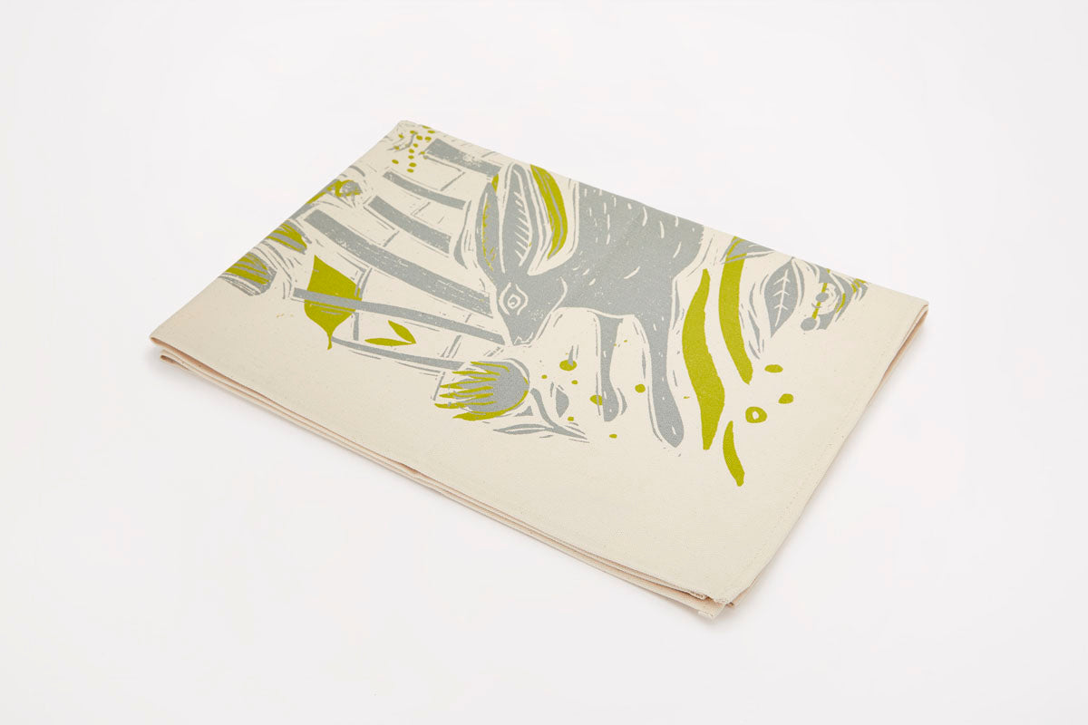 Sam Wilson Running Hare Cotton Tea Towel