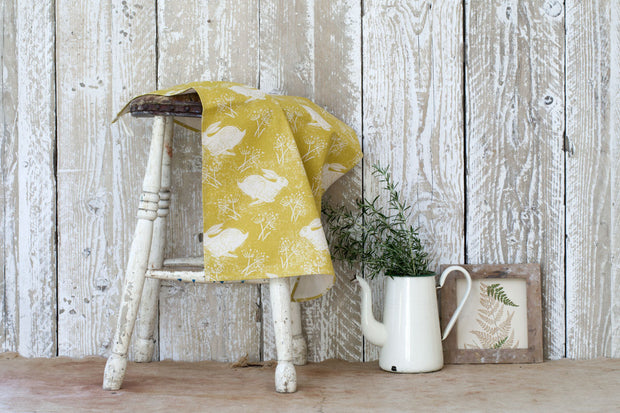 Headlong Hare Yellow Ochre Tea Towel