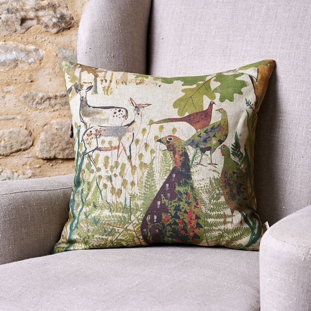 Pheasant & Deer Linen Cushion