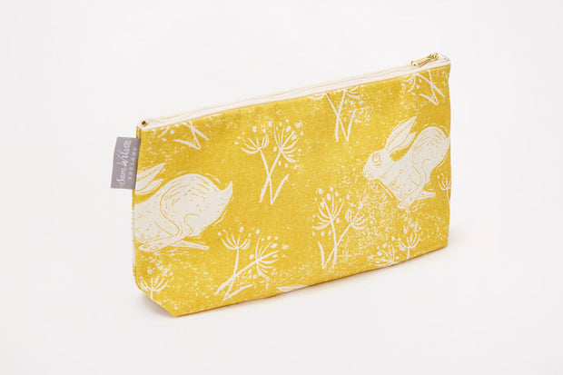 Headlong Hare Ochre Cotton Washbag