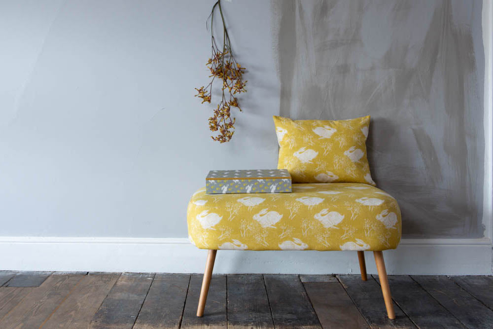 Sam Wilson Foot stool in Headlong Hare Yellow Ochre Cotton