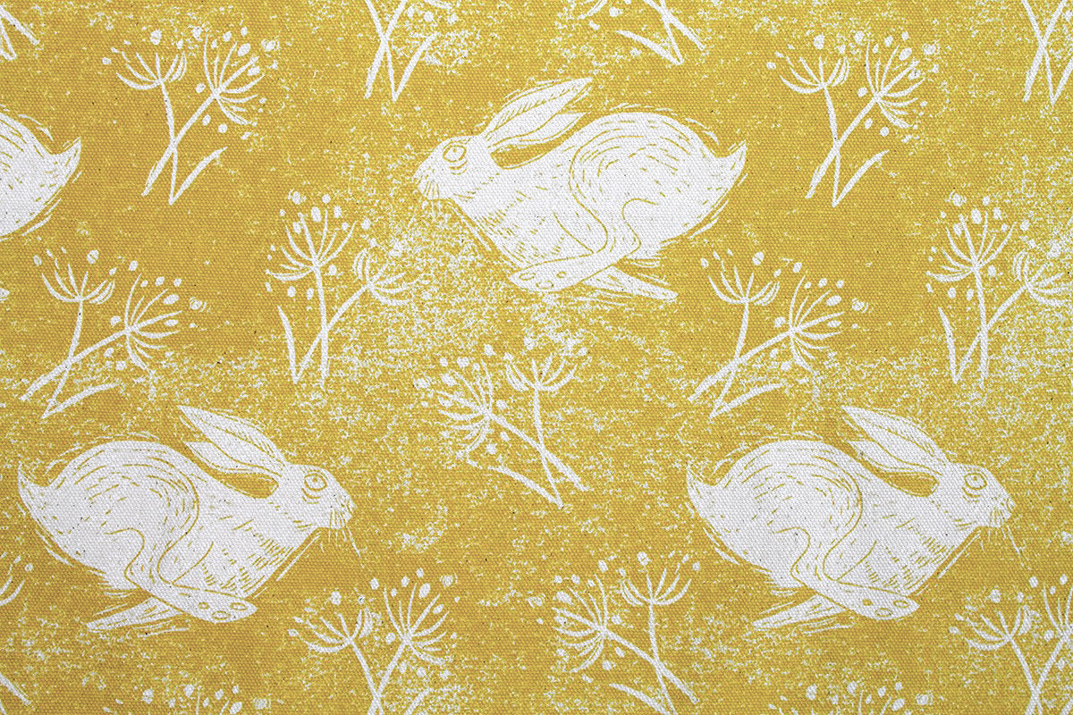 Headlong Hare - Yellow Ochre Cotton Fabric
