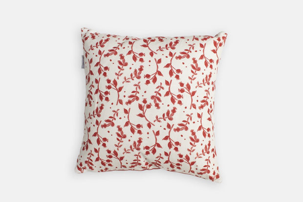 Sam Wilson Rosehip with Red Back Linen Cushion