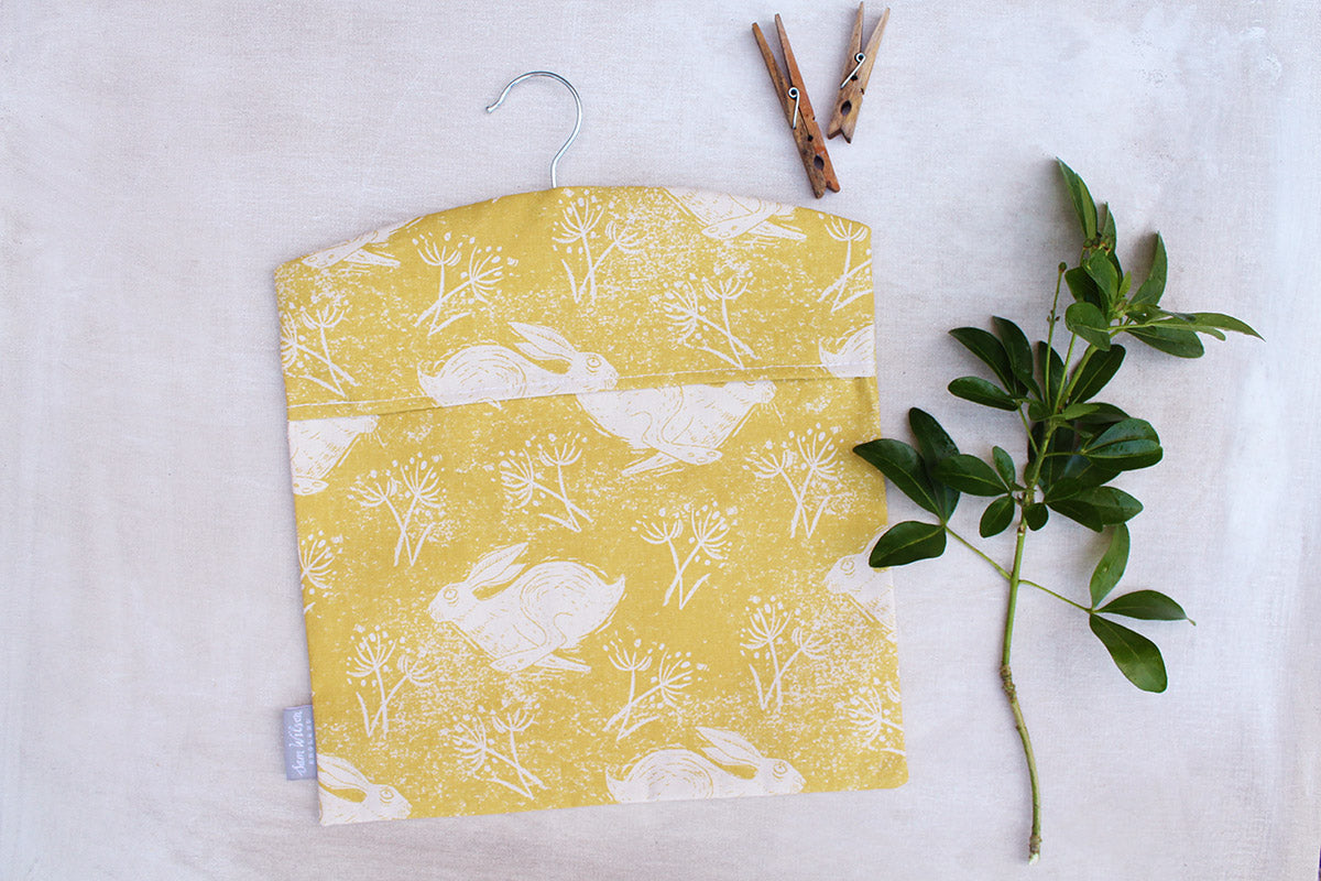 Sam Wilson Headlong Hare Yellow Ochre Cotton Peg Bag
