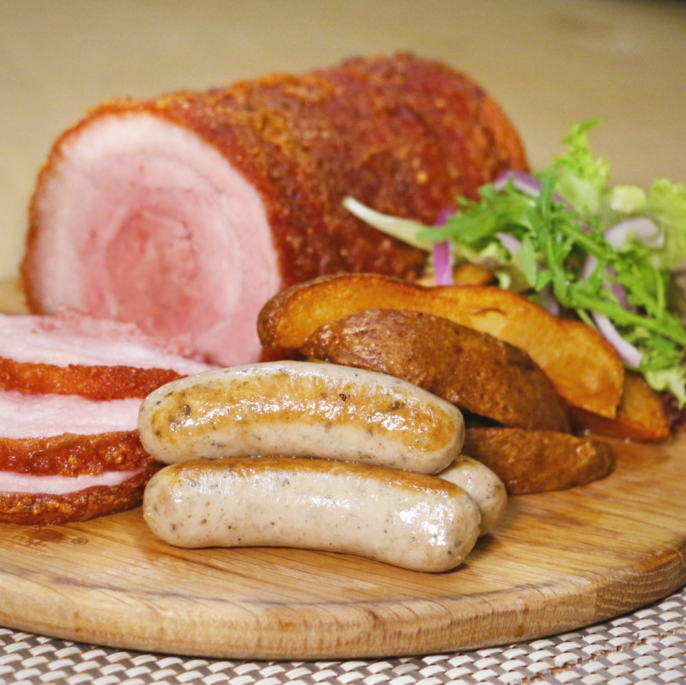 Crispy Pork Loin with Chorizo and Sage, Seasonal Greens and Potato (1kg)