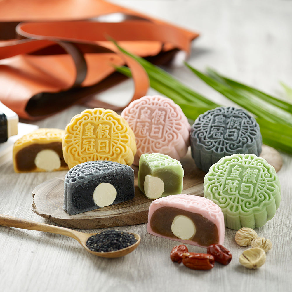 Champagne Truffle Snow Skin Mooncakes - Black Sesame, Chestnut, Pandan and Red Date (Assorted Flavours in Box of 4)
