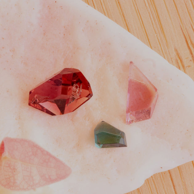 Tourmaline Geo Cut Parcel Stones, Modern geo faceted Tourmaline, responsible sourcing