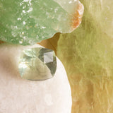 Green Fluorite cushion cut 2.82ct, clean pale green cushion cut checker board faceted stone, responsible sourcing gemstones