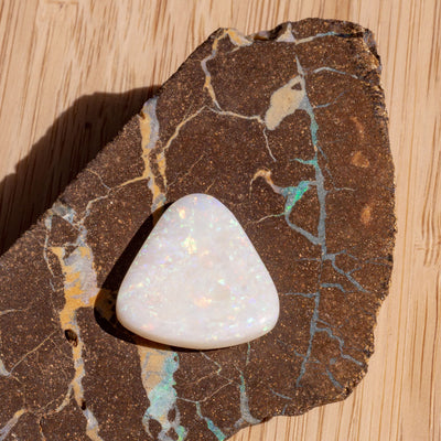 9.02 Solid Australian Opal Triangle Cut, opal stone ready for setting