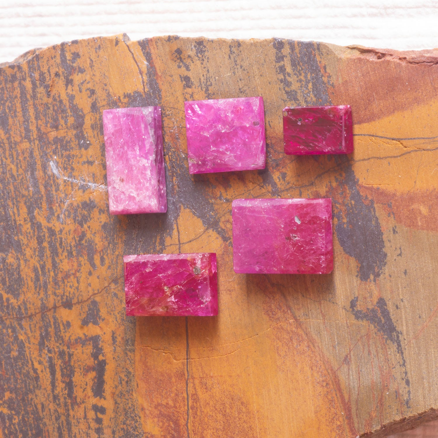 9.37ct Mozambique Ruby Parcel in Flat Cut, Bespoke flat cut loose ruby