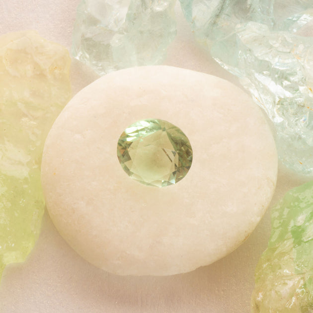 2.96ct Fluorite Soft Green Round Cut Faceted Gemstone, Green faceted