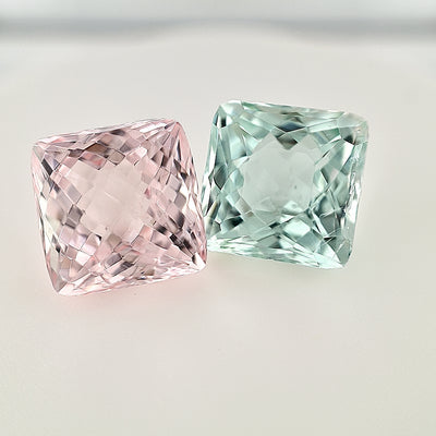 13.74ct TW Morganite and Green Beryl Square Cut Pair