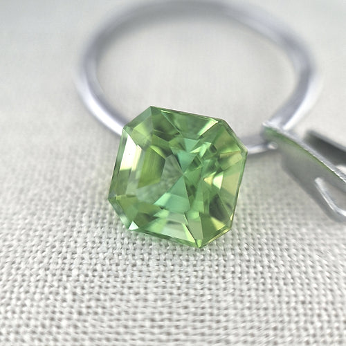 3.87ct Light Green Tourmaline Square Emerald Cut